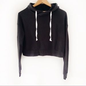 So The Lounge Life Cropped Black Hoodie Size S